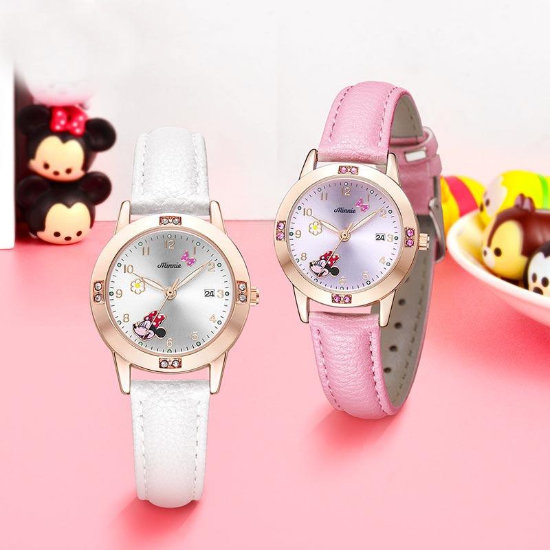 Ladies Minnie Mouse Calendar Luxury Bling Rhinestone Diamond Jewelry Watches Pretty Girls Children Watch Kid Clock Women Relogio