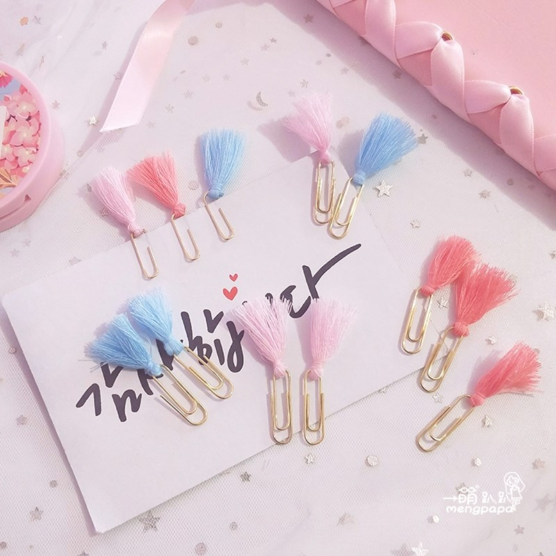 TUTU New Creative Cute Tassel Metal Memo Paper Golden Clips Set Index Bookmark For Books Office School Stationery Supplies H0320