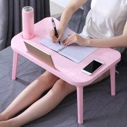 Mesa plegable para ordenador portátil escritorio para computadora desayuno servir bandejas de cama ajustable plegable Flip Top piernas Mini Escritorio de oficina