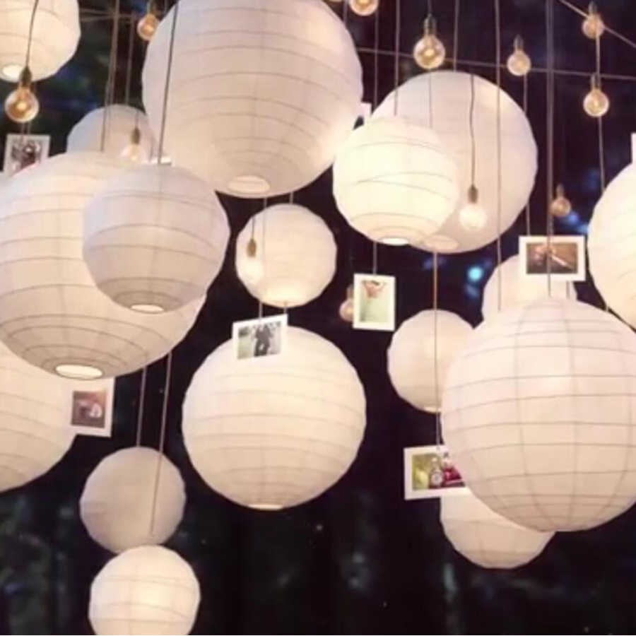 30pcs/Lot Mix Size (20cm,30cm,35cm,40cm) White Paper Lanterns Chinese Paper Ball Lampion For Wedding Party Holiday Decoration
