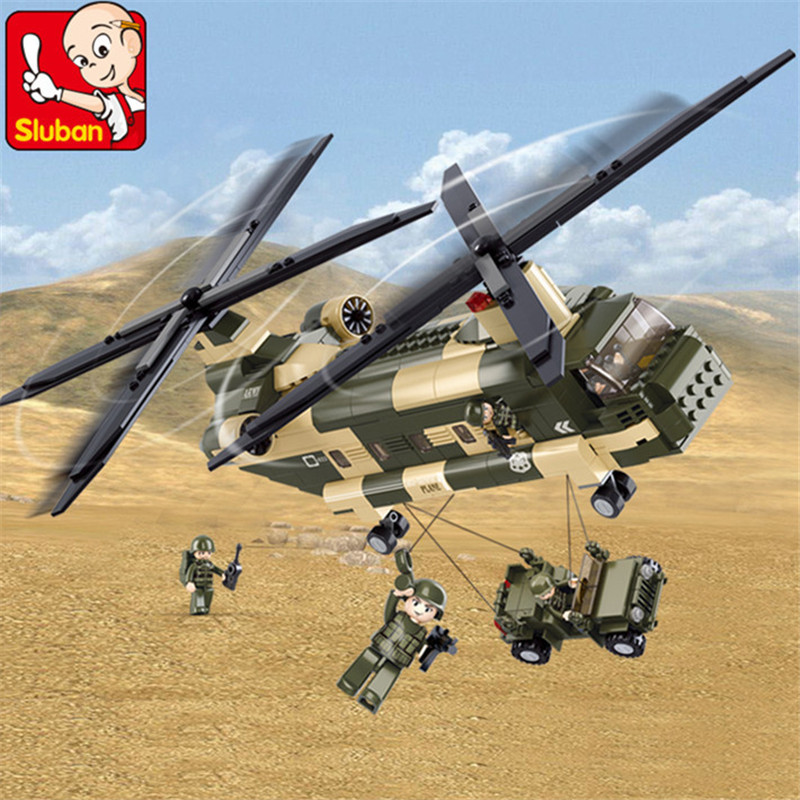 520Pcs Military Air Force Transport Helicopter Building Blocks ARMY Soldiers LegoINGLs Bricks Toys for Children Christmas Gifts