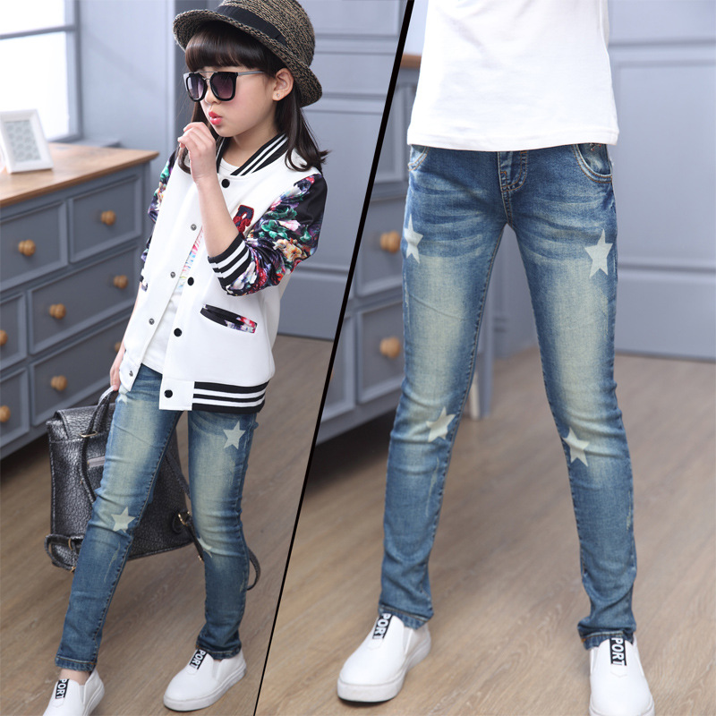 Children Denim Pants Girls Star Print Blue Jeans Kids Leggings Spring Autumn Teenager Girl Casual Pencil Trousers 6 8 10 12 Year 2