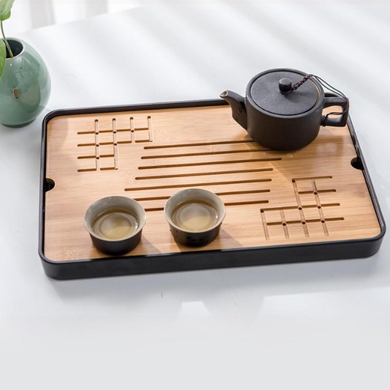 Bamboo Tea Trays Kung Fu Tea Accessories Tea Tray Table with Drain Rack Chinese Tea Serving Tray Set|Tea Trays| |  - title=