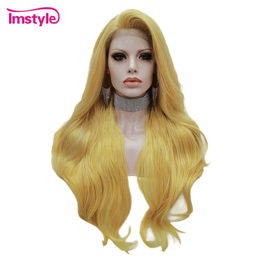 Imstyle amarelo rosa peruca longa ondulado peruca dianteira do laço sintético resistente ao calor fibra frente glueless perucas do laço para cabelo falso feminino