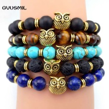 GVUSMIL Brand Men Jewelry Wholesale 1pc New Design 8mm Natural Matte Onyx Stone Alloy Owl Bracelet