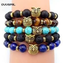 GVUSMIL Brand Men Jewelry Wholesale 1pc New Design 8mm Natural Matte Onyx Stone Alloy Owl Bracelet