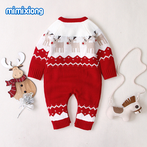 Image 3 - Baby Rompers Christmas Newborn Boys Girls Jumpsuits Costumes Cartoon Knitted Childrens Overalls One Piece Infant Kids Outfits