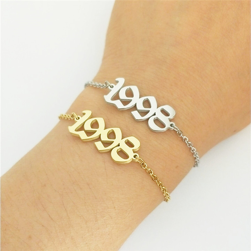 Stainless Steel Birth Year Anklets Silver Gold Old English Number 1995 Ankle Bracelet Foot Chain Party Accessories For Kids Gift 3