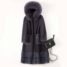 Sheep sheared coat female long section 2019 new fox fur hooded one Haining fur wool coat jacket
