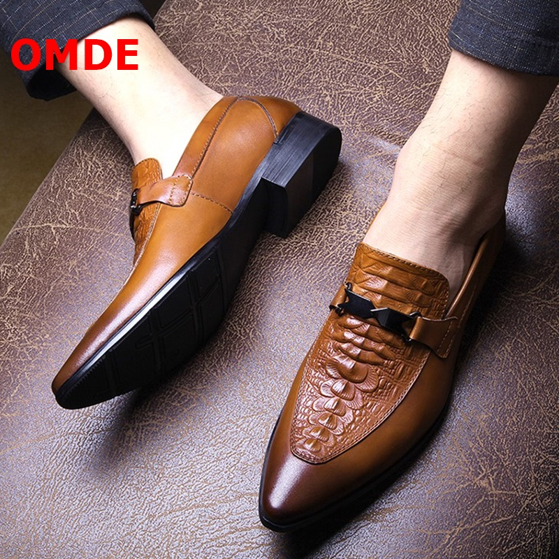OMDE Summer Pointed Toe Mens Dress Shoes Genuine Leather Slip On Formal Shoes Men Business Leather Shoes Loafers Wedding Shoes in Formal Shoes from Shoes