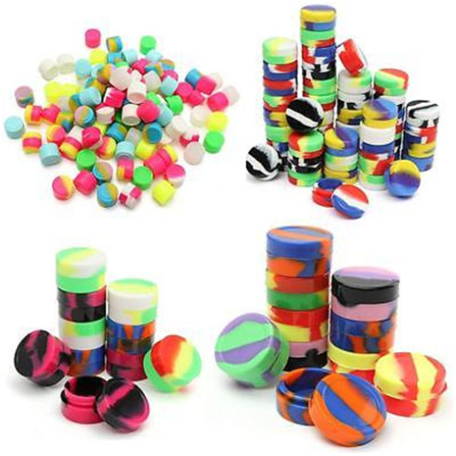 3ml 5ml 7ml 22ml Colorful Silicone Round Containers Nonstick Jar Empty Pot For E Juice Liquid Storage