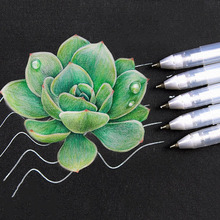 3 Pcs White Gold Silver Marker Pen Sketching Painting Highlighter Graffiti Art Stationery Supplies