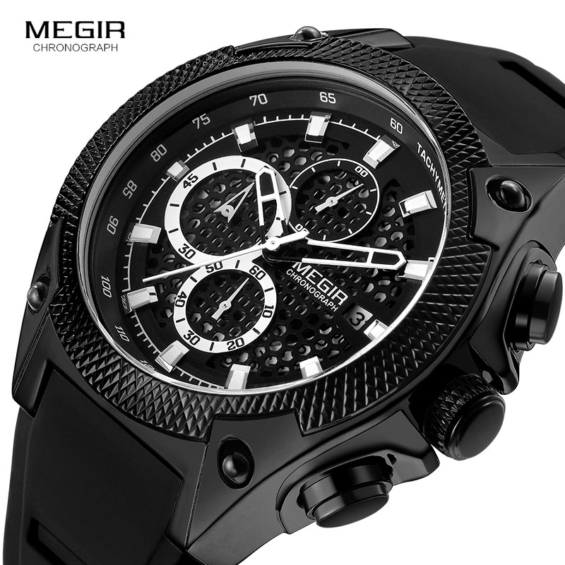 MEGIR Army Quartz Watches Men Top Brand Luxury Chronograph Watch Man Waterproof Sports Wristwatch Relogio Masculino Clock 2127