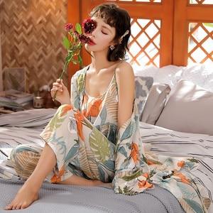 Image 3 - JULYS SONG 3 Piece Spring  Floral Printed Pajamas Set Summer Viscose Sleepwear Women Pajamas Top  Long Pants Night Suit  Set