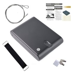 Di impronte digitali Cassaforte In Acciaio Solido Chiave di Sicurezza Gunsafe Oggetti di Valore Dei Monili Scatola di Immagazzinaggio Protable Biometrico di Impronte Digitali Sicurezza Gunbox
