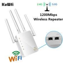 Kuwfi 5ghz wi fi sem fio repetidor 1200mbps ap roteador sem fio banda dupla 2.4 & 5ghz wi fi extensor de longa distância wi fi amplificador de sinal