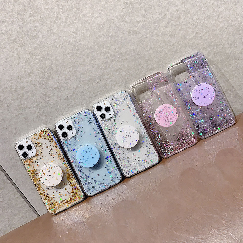 Bling Glitter Design Phone Standing Case With Star Sequin Cover For iPhone 11 Models 21