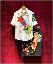Baogarret Womens Summer New Runway Skirt Suit Short Sleeve Beading Blouse + Angel Print Fashion Two Piece Set