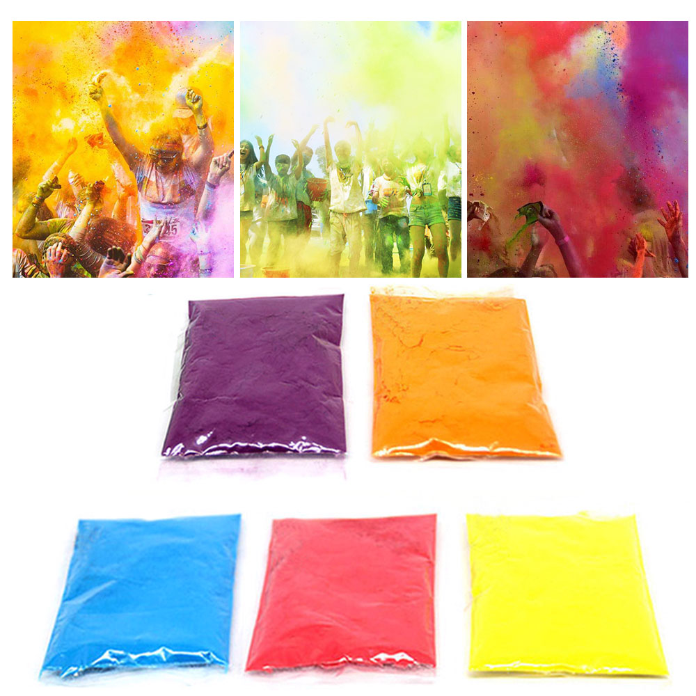 Besegad 5 Pack 3.53oz Colored Powder Running Throw Corn Starch Powder Flour For HOLI Christmas Festival Party Celebration Supply