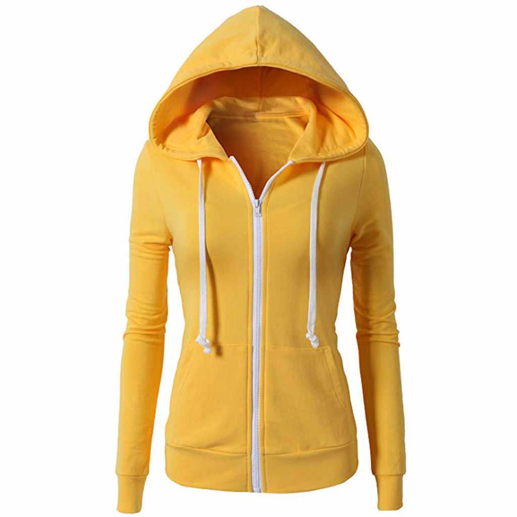 Дождевик Женская куртка черная на молнии активные карманы Повседневная Обычная спортивная на молнии с капюшоном куртка с длинным рукавом пальто chaqueta mujer