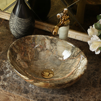 Ceramic wash basin oval Countertop wash hand basin European marble art Hand Painted bathroom sink bowls mx9251649