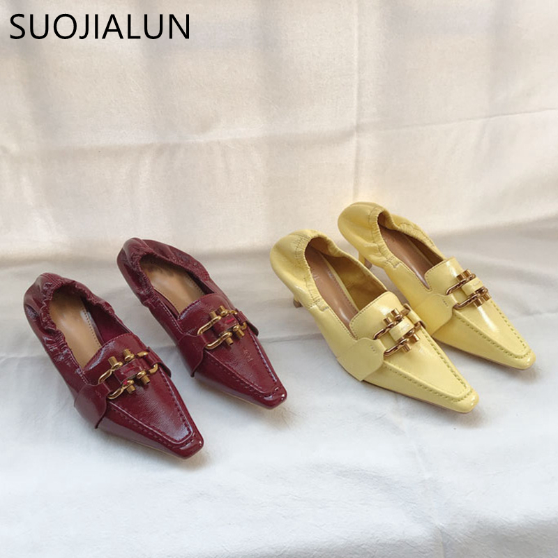 SUOJIALUN Fashion Brand Metal Buckle Women Pump Low Heel Women British Style Shoes Ladies Vintage Squaer Toe Designer Pump
