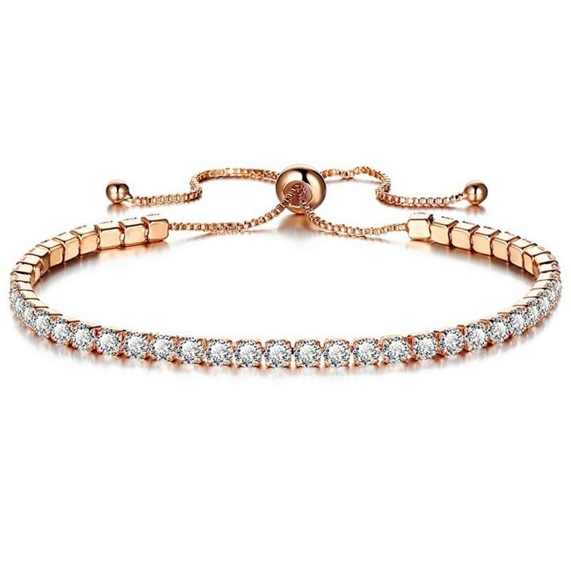 Crystal Bracelet Luxury Micro-inlaid Zircon Bracelet Ladies Simple Adjustable Hand Jewelry Fashion Bracelet(China)