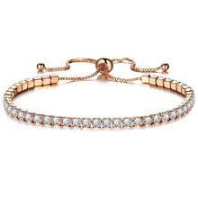 Pulseira de cristal de luxo micro-incrustado zircon pulseira senhoras simples ajustável mão jóias moda pulseira