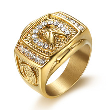 Hip Hop Iced Out Bling Gold Color Stainless Steel Ring Male Micro Paved CZ Horse Head Rings for Men Jewelry Gift Dropshipping hip hop iced out bling horse head pendants necklaces for men gold color stainless steel round cz necklace jewelry dropshipping