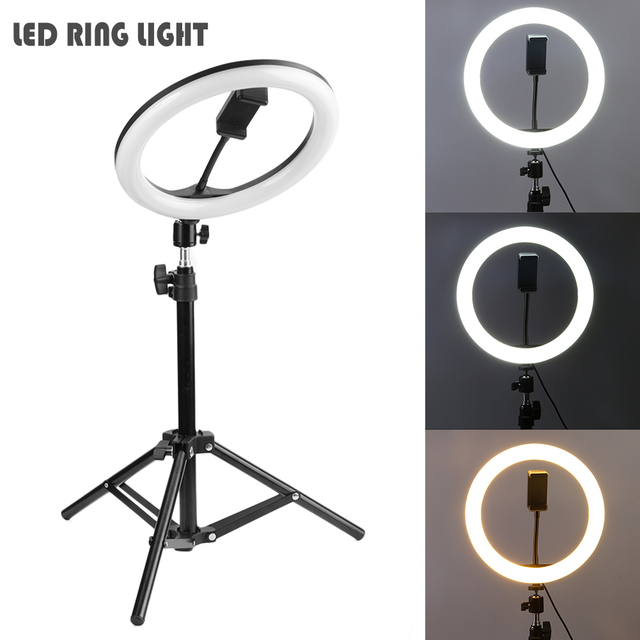 Ring Fill Light Dimmable LED Studio Camera Video Light Annular Lamp with Tripod Phone Clip for Smartphone Selfie Live Show