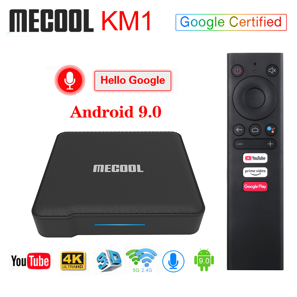 2020 Mecool KM1 4GB 64GB Androidtv 9.0 Google Certified TV Box Amlogic S905X3 Voice Control Youtube 4K Dual Wifi Set Top Box