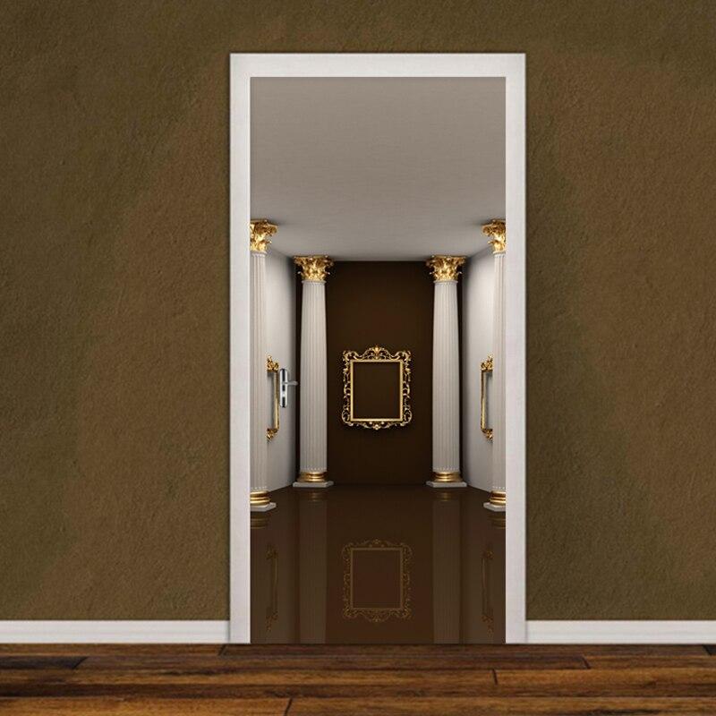 European Style Luxury Door Sticker 3D Rome Column Mural Wallpaper Living Room Bedroom Home Decor Door Poster Self-Adhesive Decal