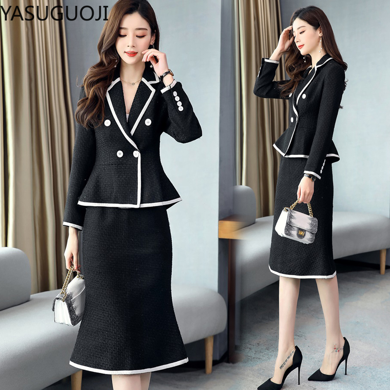 YASUGUOJI Office Lady Patchwork Women Skirt Suit 2020 Double Breasted Blazer + Ruffles A Line Skirt Two Piece Set Suits Women