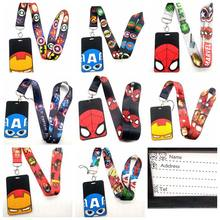 Hot 1 Pcs Kartun Superhero Spiderman Batman Iron Man Lanyard Kunci Lanyard Cosplay Badge ID Kartu Pemegang Leher Tali Keyrchains(China)
