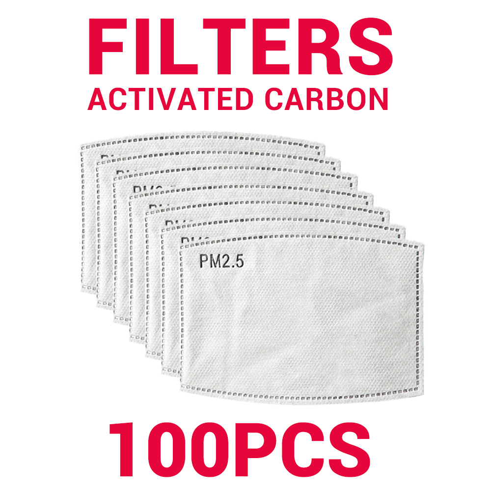Activated Carbon Filter Paper Face Shield Anti Haze Dust Face Mask Mouth Caps Replacement Respirator Protection Masks