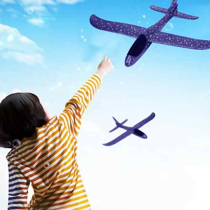 37/48cm Purple Hand Throwing Airplane Diy Epp Foam Flexible Durable Hand Launch Throwing Aircraft Plane Model Outdoor Fly Toy
