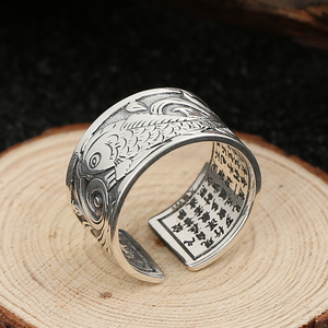 Image 4 - BALMORA Real 999 Silver Vintage Koi Open Stacking Finger Rings for Men Women Couple Special Gift Buddhism Sutra Fashion Jewelry