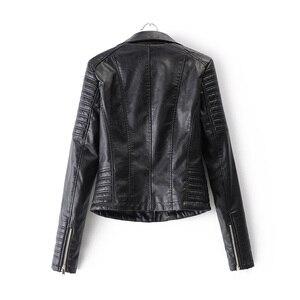 2021 herbst Winter Biker Streetwear Schwarz Rosa Mantel Neue Mode Frauen Weiche Motorrad Faux Leder Jacken Damen Langarm