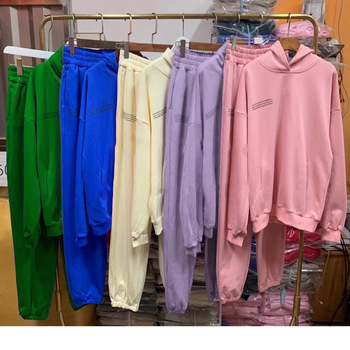 Solid Cotton Hooded Sweatshirts Hoodies Track Pants Joggers Women Tracksuits Two Piece Sets Sweatpants Sweatsuits Spring Female 1
