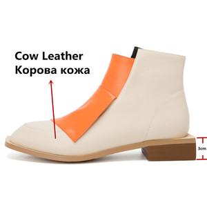 Image 3 - FEDONAS 2020 Warm Autumn Winter Women Genuine Leather Ankle Boots Mixed Colors Zipper Plus Size Female Boots Party Shoes Woman