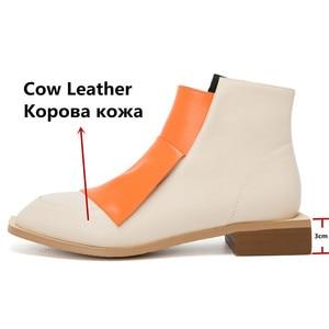 Image 3 - FEDONAS Chất Lượng Hỗn Hợp Màu Sắc Da Thật Chính Hãng Da Nữ Cổ Chân Giày Cổ Điển Mũi Tròn Giày Chelsea Boot Quàng Nam Giày Người Phụ Nữ Cổ Ngắn Tăng