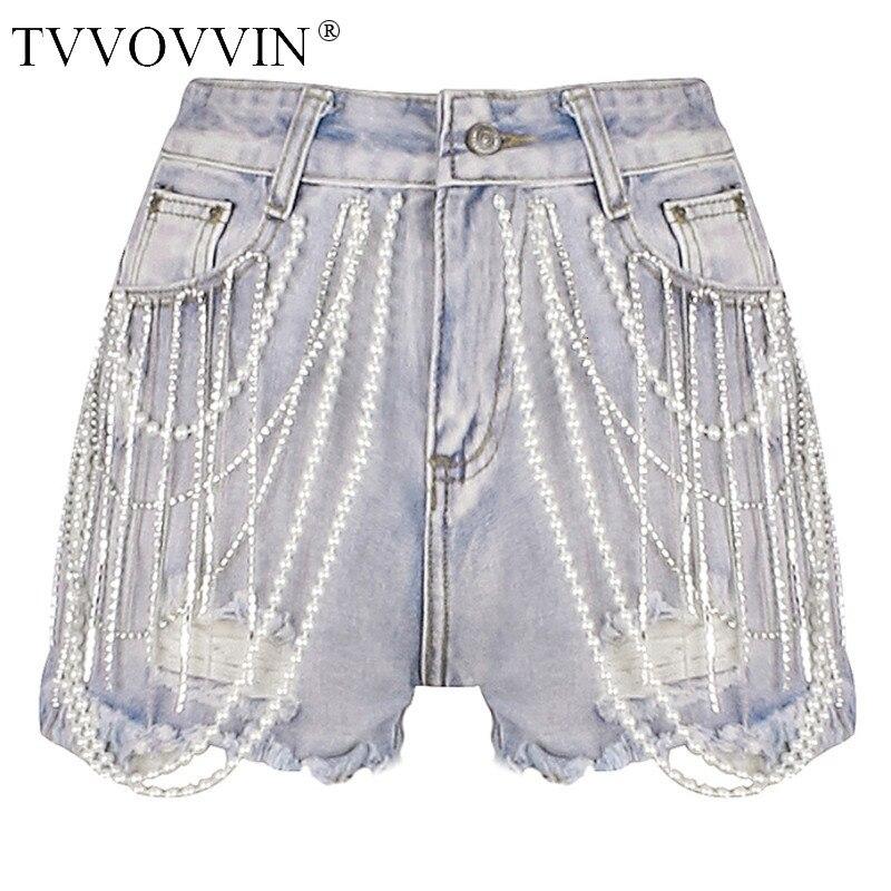 TVVOVVIN Blue High Waist Edging Heavy Pearl Rhinestone Tassel Woman Denim Shorts Casual Simple Fashion 2019 Summer New F941