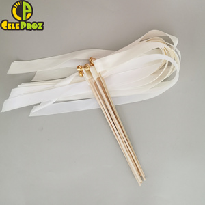 Image 5 - 50Pcs งาช้างริบบิ้นลูกไม้ Fairy Sticks กับระฆังงานแต่งงาน Twirling Streamers งานแต่งงาน Ribbon Stick NOISE Maker PARTY Supplies