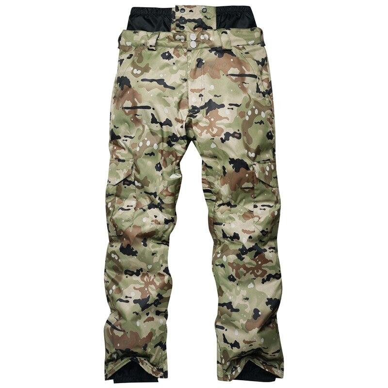 Nouveau imperméable Snowboard Camouflage pantalon hommes hiver Ski pantalon homme respirant neige pantalon marque mâle Ski pantalon-30 degrés