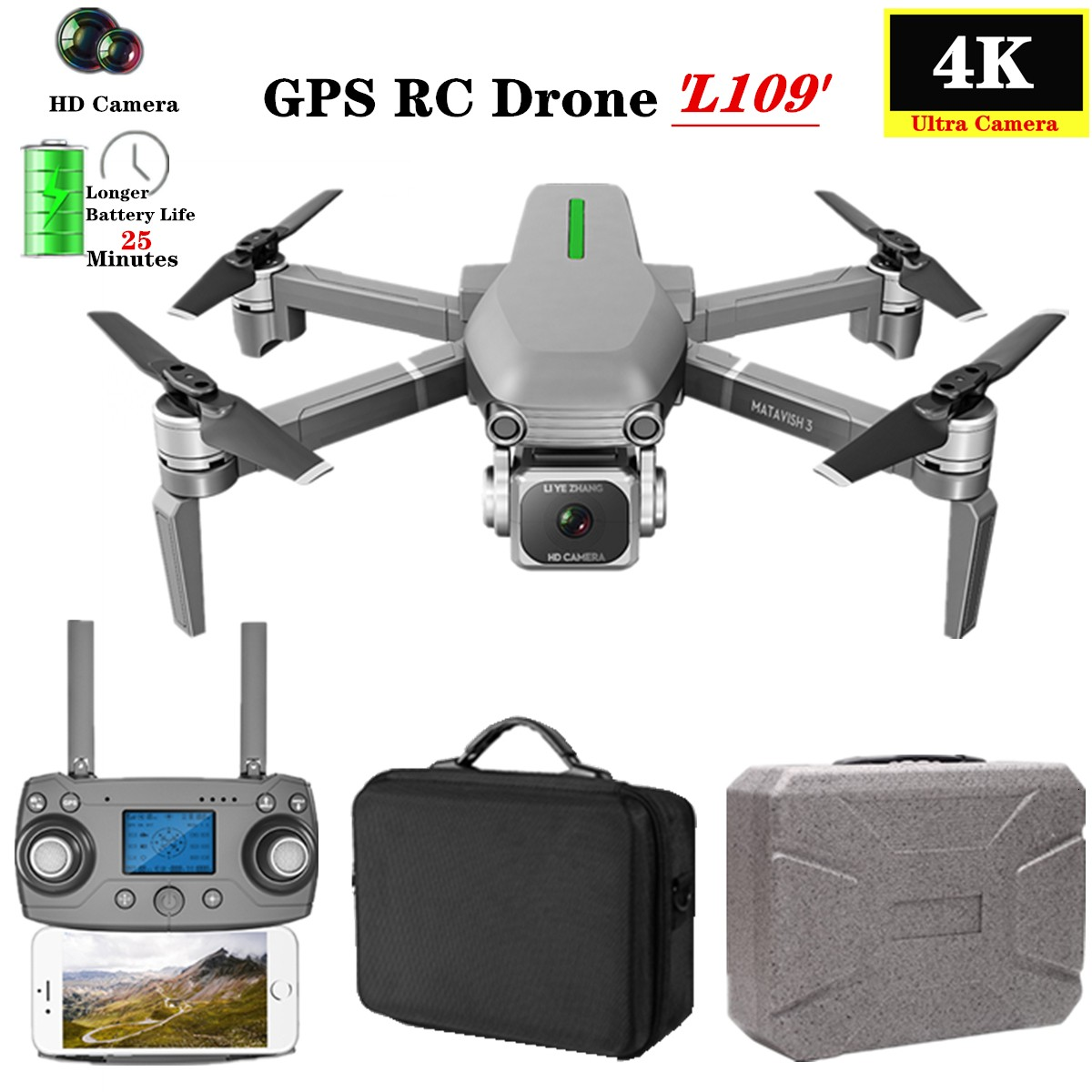 L109-S RC Drone Quadcopter 4K HD Camera 5G WiFi GPS Drones With One Key Return Altitude Hold 800m WiFi Image Distance dron toys