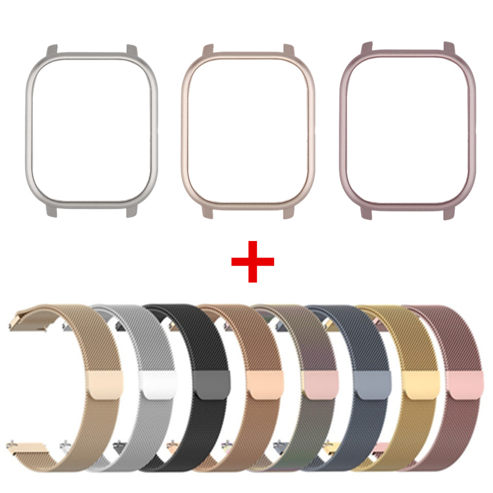 For Xiaomi Huami Amazfit GTS Smart Watch Band 2in1 Metal Bracelet+PC Case For Amazfit GTS Milanese Wrist Strap Protective Cover