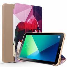 Leather Case For Samsung Galaxy Tab A6 10.1 2016 SM-T580 SM-T585 for Samsung Galaxy Tab A 10.1 3 Fold PU Smart cover цена 2017