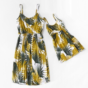 Leaf Tank Mother Daughter Matching Dresses Family Look Mommy and Me Clothes Mom Mum Baby Women Girl Matching Dress Outfits фото