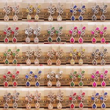 1pcs newest red/pink wedding /party earring silver shiny women rose gold champagne Zerong new rhinestone