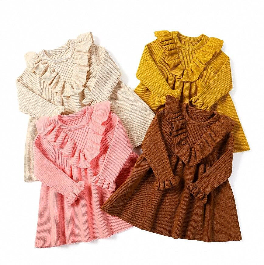 Robes tricotées à manches longues pour bébé fille, en coton, à volants, pour fête d'anniversaire, hiver automne